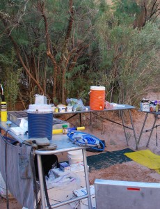 Kitchen set up two minutes Grand Canyon